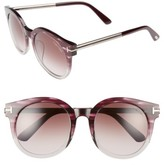 Tom Ford Women's Janina 53Mm Special Fit Round Sunglasses - Dark Havana/ Gradient Green