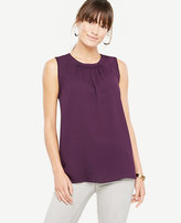 Ann Taylor Petite Ruched Neck Shell