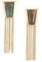 Stephanie Kantis Impose Green Moss Agate Chain Fringe Earrings