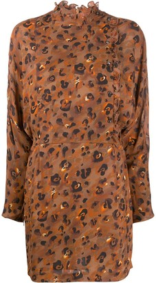Lala Berlin Leopard Print Long-Sleeve Dress