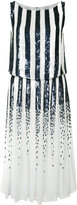 Carolina Herrera striped sequinned dress - women - Silk - 6