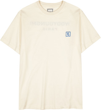 Wooyoungmi Cream logo-flocked cotton T-shirt