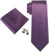 Landisun SILK Solids Mens SILK Tie Set: Necktie+Hanky+Cufflinks