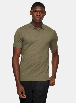 Topman Olive Button Through Knitted Polo