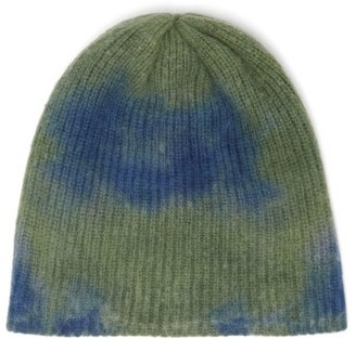 The Elder Statesman Watchman Tie-dyed Cashmere Beanie - Womens - Green Multi