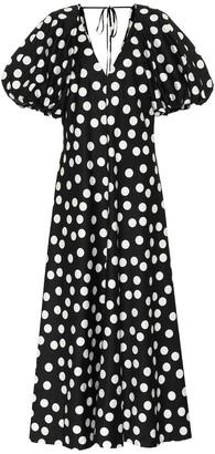 Lee Mathews Cherry polka-dot cotton maxi dress