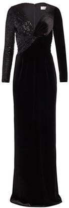 Teri Jon by Rickie Freeman Stretch-Velvet Sequin Gown