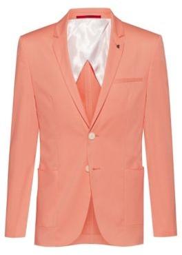HUGO BOSS Extra Slim Fit Stretch Cotton Jacket With Lapel Pin - Light Orange