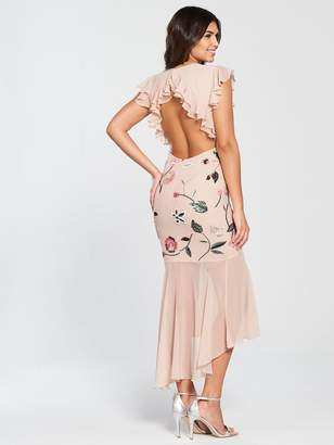 Very Floral Embroidered Sequin High Low Maxi Dress