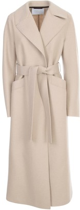 Harris Wharf London Women Long Maxi Coat Pressed Wool With Polaire Lining