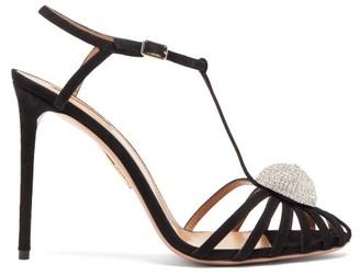 Aquazzura Sublime 105 Crystal T-bar Suede Sandals - Womens - Black