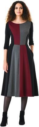eShakti Women's Princess seamed colorblock cotton knit dress UK Size 10 / Short height Vibrant garnet/black/charcoal
