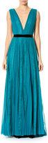 Carolina Herrera Paneled Lace Chiffon V-Neck Gown