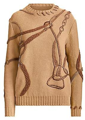 Ralph Lauren Women's Artisanal Embroidered Equestrian Crewneck Sweater