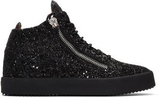 Giuseppe Zanotti Black Glitter Kriss High-Top Sneakers