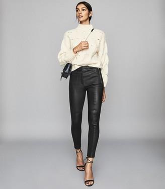 Reiss Sophia - Leather Biker Leggings in Black
