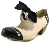 All Black Soft Bow 2 Women Round Toe Leather Mary Janes.