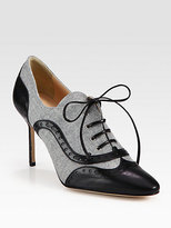 Flannel and Leather Lace-Up Oxford Ankle Boots