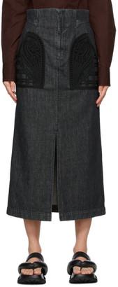 Mame Kurogouchi Black Denim Embroidered Skirt