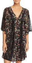 Sam Edelman Chiffon & Lace Open Robe