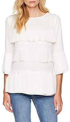 Seidensticker Women's 126993 Regular Fit Crew Neck 3/4 Sleeve Blouse - White - 8