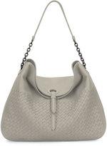 Bottega Veneta Intrecciato Cervo Flap-Top Hobo Bag, Gray