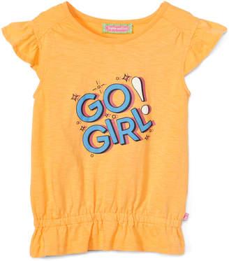 SAM. Sophie & Girls' Tee Shirts Yellow - Yellow 'Go Girl' Angel-Sleeve Top - Infant, Toddler & Girls