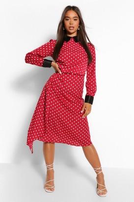 boohoo Polka Dot Collar Detail Draped Midi Dress