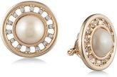 Carolee Gold-Tone Imitation Pearl & Pavé Halo Clip-on Earrings