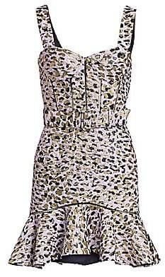 Jonathan Simkhai Women's Lamé Leopard Jacquard Bustier Ruffle Dress