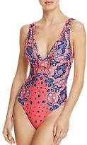 Red Carter Panel Plunge V-Neck One Piece Swimsuit