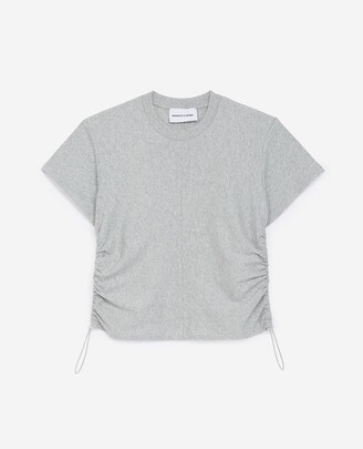 The Kooples Grey cotton T-shirt with gathering