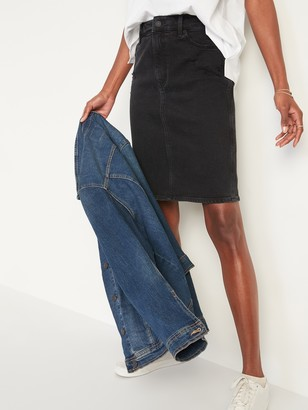 Old Navy Extra High-Waisted Ripped Black Jean Skirt for Women