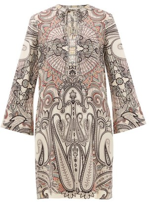 Etro Cannalla Paisley-print Wool-blend Dress - White Black
