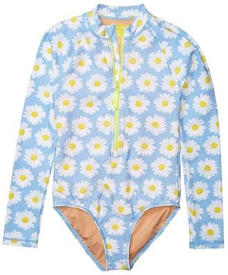 crewcuts by J.Crew Daisies Rashguard Suit (Toddler/Little Kids/Big Kids) (Light Blue/White) Girl's Swimwear Sets