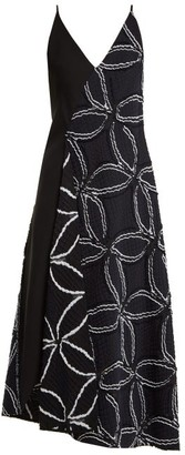 Roland Mouret Hooper Geometric Floral-jacquard Dress - Navy Multi