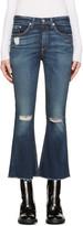 Rag & Bone Indigo Frayed Crop Flare Jeans