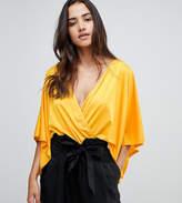Flounce London wrap front kimono bodysuit
