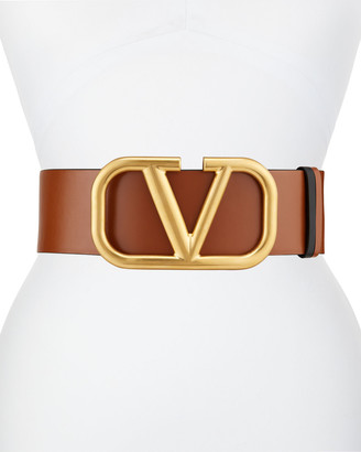 Valentino VLOGO 70mm Wide Box Leather Belt