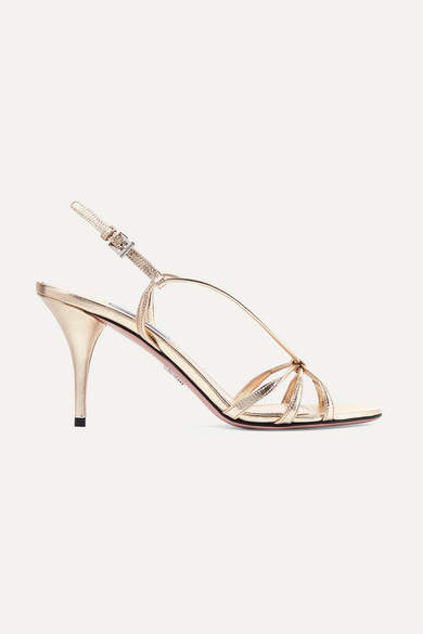Prada 85 Metallic Leather Sandals - Gold