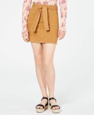 Tinseltown Juniors' Front-Pocket Belted Skirt