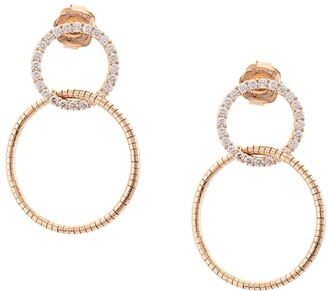 Mattia Cielo 18kt rose gold Rugiada diamond double circle earrings