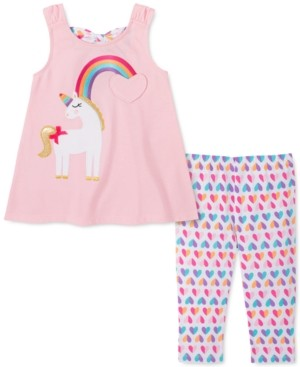 Kids Headquarters Toddler Girls 2-Pc. Unicorn Rainbow Tunic & Printed Leggings Set