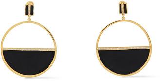 Noir Gold-tone, Crystal And Enamel Earrings