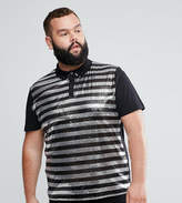 Asos PLUS Polo Shirt In Sequin Stripe