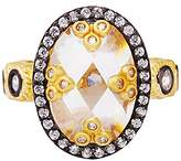Freida Rothman Women's Two Tone Plated Sterling Silver Mirror Ring - Size L 1/2