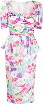 Alessandra Rich Floral Print Fitted Dress