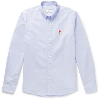 Ami Button-Down Collar Logo-Appliqued Cotton Oxford Shirt