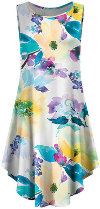 Lily Women's Casual Dresses TEL - Teal & Yellow Floral Curved-Hem Sleeveless Dress - Women & Plus