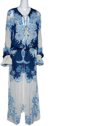 Roberto Cavalli Blue & White Floral Print Silk Maxi Dress L